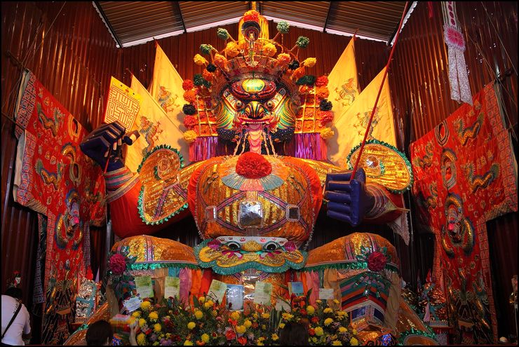A shrine depicting a deity at the Festival of the Hungry Ghosts