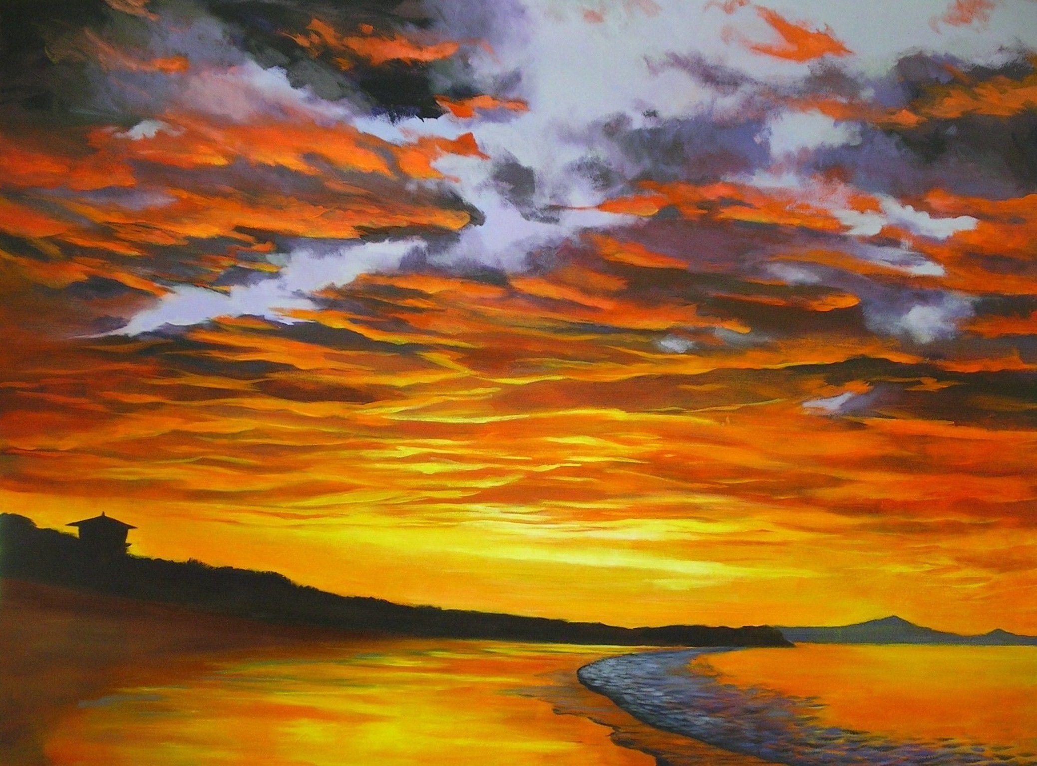 Рисунок с закатом солнца