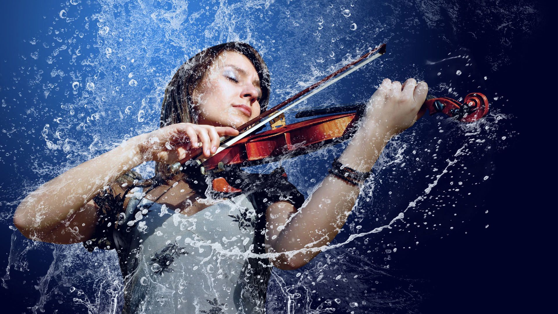 Девушка со скрипкой абстракция  № 2052324 бесплатно