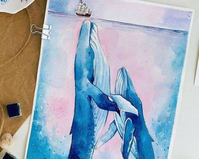 Мастер-класс по живописи акварелью «Киты» фото 1