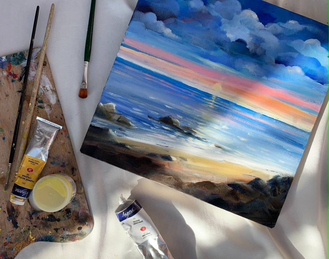 Мастер-класс по живописи масляными красками «Морской прибой» фото 1