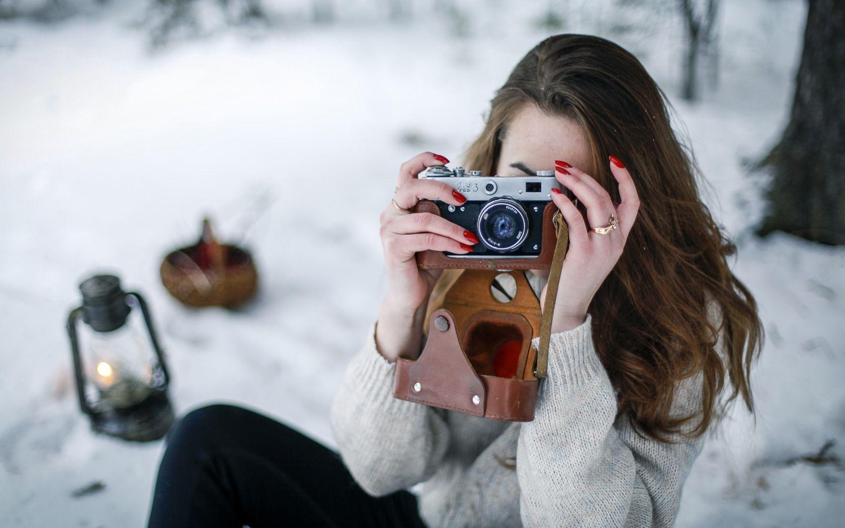 работа с зеркальной фотокамерой на морозе нижнего яруса, выстриженные