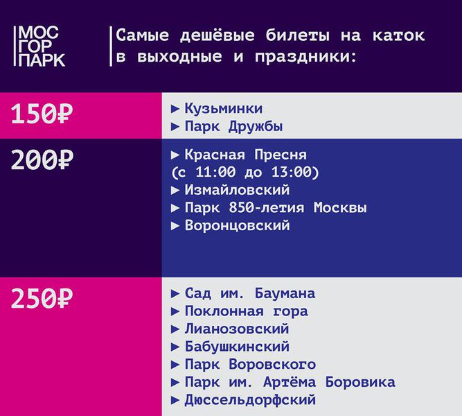 Самые дешевые билеты на катки в московских парках в выходные и праздники