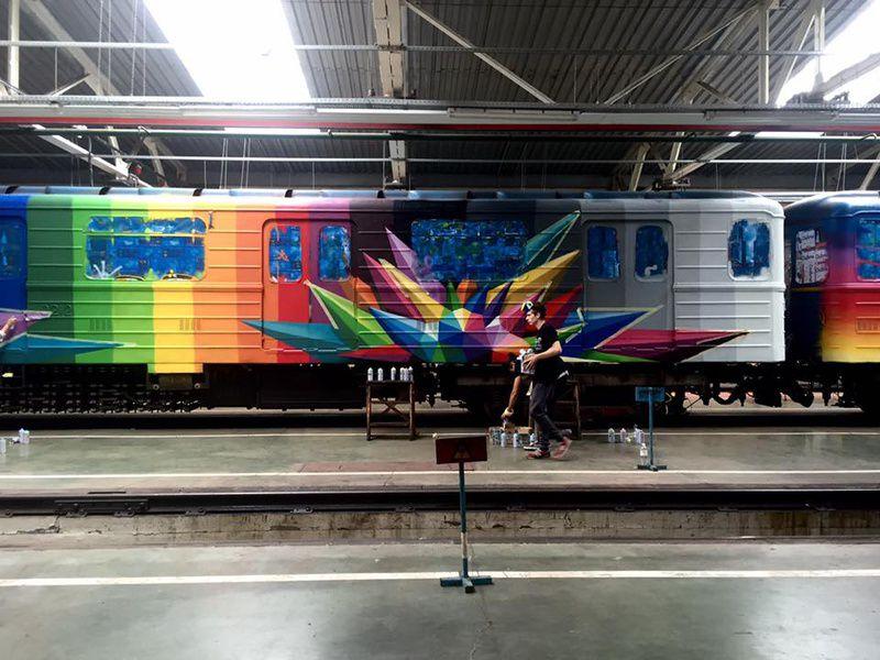 ВКиевском метрополитене показали новый арт-поезд